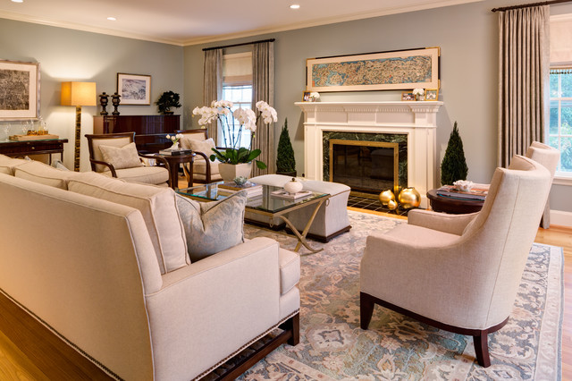 Silk Orchids Living Room Traditional with Barbara Barry Baseboard Beige