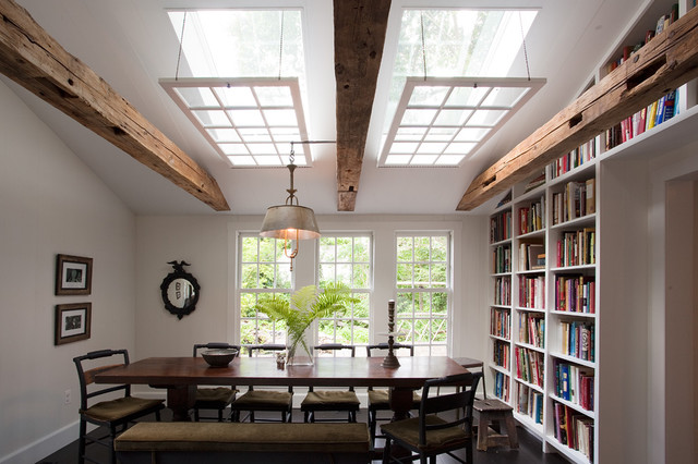 Skylight Covers Dining Room Rustic with Artwork Bookcase Bookshelves Built