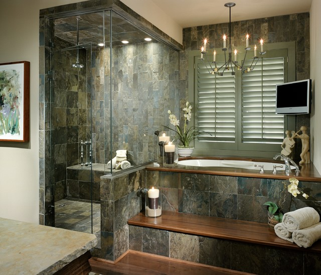 Slate Tile Lowes Bathroom Contemporary with Bath Accessories Candles Chandelier