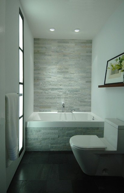 Slate Tile Lowes Bathroom Contemporary with Black and White Blue