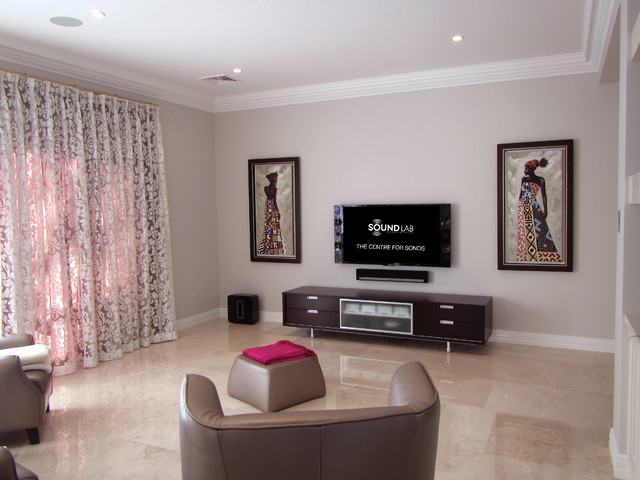 sonos home theater Home Theater Contemporary with Cabinetry home theatre Living