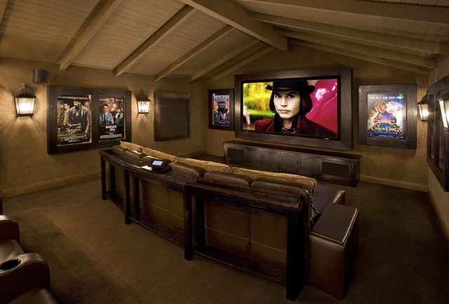 Sonos Home Theater Home Theater Rustic with Big Screen Built By