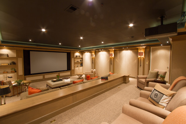 Sonos Home Theater Home Theater Traditional with Beige Carpet Brown Ceiling