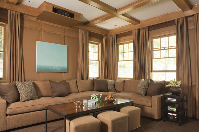 Soundproof Insulation Home Theater Transitional with Beamed Ceiling Coffered Coffered