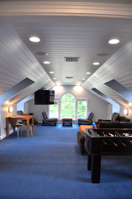 Soundproofing Windows Family Room Traditional with Arch Attic Blue Carpet
