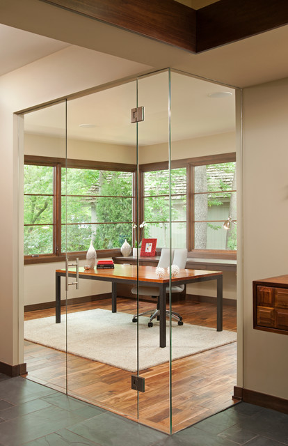 Soundproofing Windows Home Office Contemporary with Clerestory Windows Dark Wood