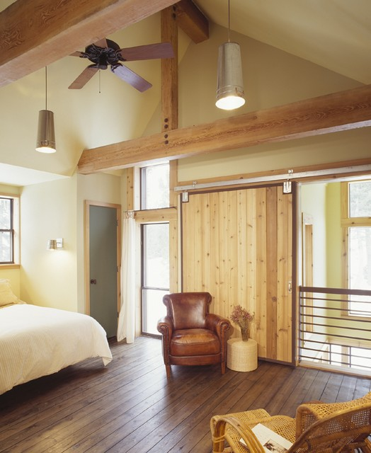 Southern Motion Recliners Bedroom Rustic with Barn Door Ceiling Fan