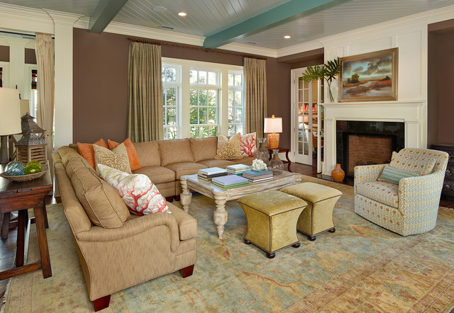 Southern Motion Recliners Living Room Beach with Beamed Ceiling Beige Column