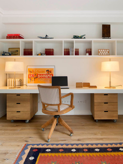 Southwestern Area Rugs Home Office Midcentury with Built in Shelves Casa
