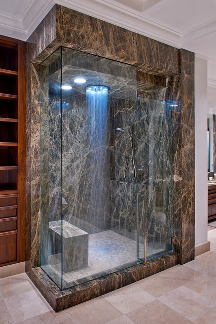 Speakman Shower Heads Bathroom Contemporary with Brown Marble Glass Shower