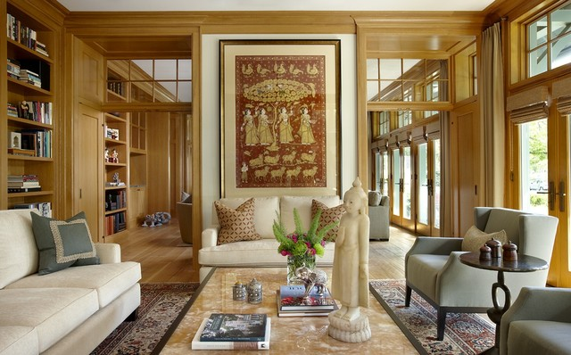 spring loaded hinges Living Room Eclectic with area rug bookshelves built