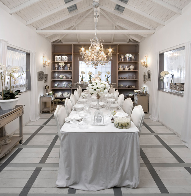 Square Tablecloths Dining Room Shabby Chic with Beams Chandelier Exposed Ceiling
