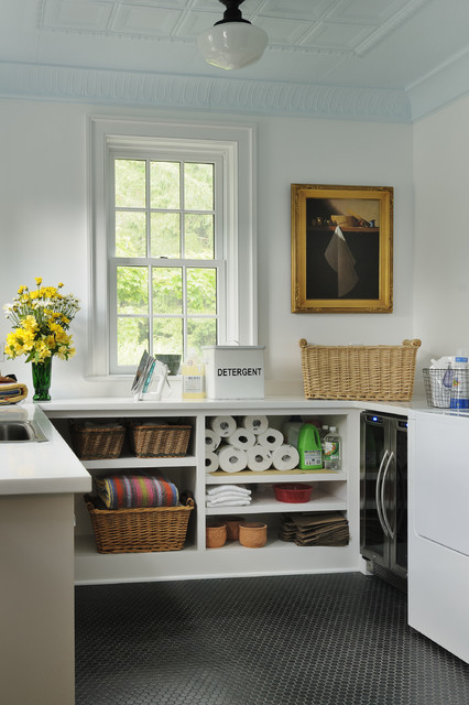 Stackable Shelves Laundry Room Traditional with Black Octagonal Tile Built