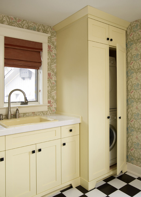 Stackable Washer Laundry Room Traditional with Built in Storage Checker