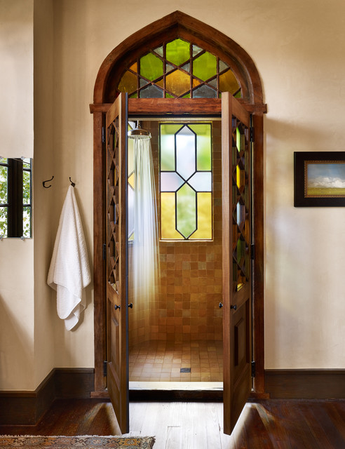 Stained Glass Floor Lamp Bathroom Victorian with Beige Wall Dark Wood