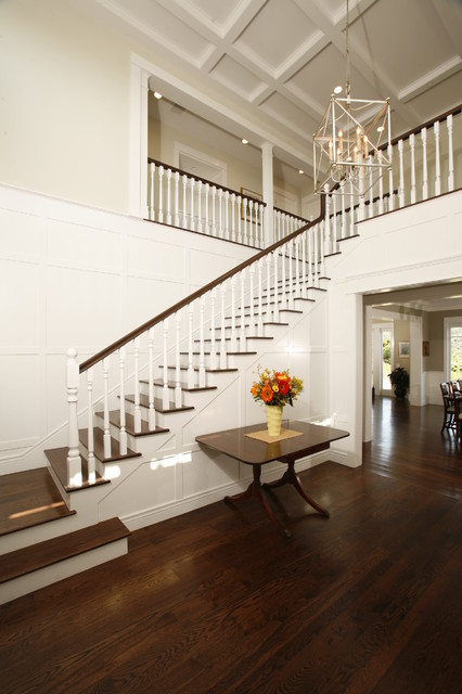Staining Wood Floors Entry Traditional with Beige Walls Chandelier Coffered