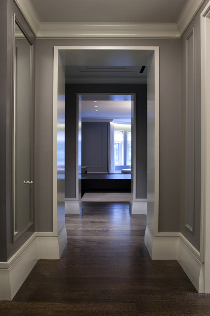 Staining Wood Floors Hall Contemporary with Baseboard Crown Molding Dark