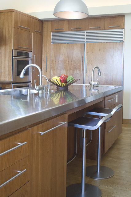 Stainless Steel Appliance Package Kitchen Contemporary with Bar Stool Breakfast Bar