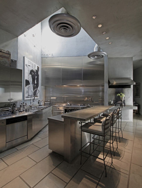 Stainless Steel Charcoal Grill Kitchen Industrial with Artwork Breakfast Bar Ceiling