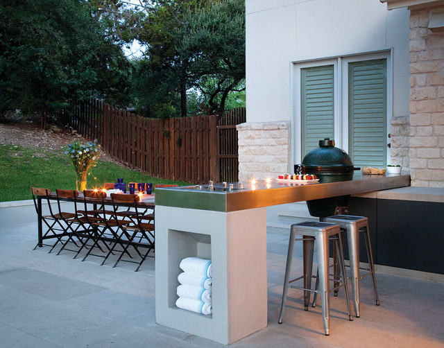 Stainless Steel Charcoal Grill Patio Contemporary with Austin Bar Stools Built In