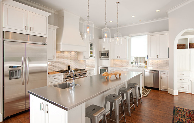 Stainless Steel Thermos Kitchen Contemporary with Crown Molding Integrated Sink