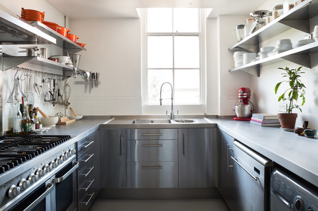 Stainless Steel Thermos Kitchen Scandinavian with Blackboard Wall Floating Stainless