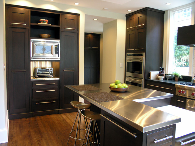 stainless steel toaster oven Kitchen Contemporary with cooktop dark brown cabinets