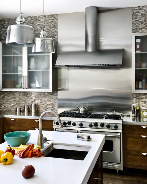 Stainless Steel Toaster Oven Kitchen Contemporary with Island Lighting Kitchen Canisters