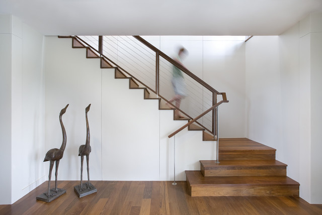 Stair Nosing Staircase Contemporary with Artwork Cable Railing Minimal