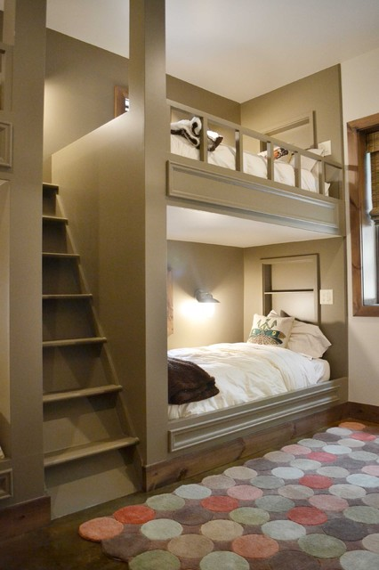 Staircase Bunk Bed Kids Contemporary with Alcove Baseboards Built In