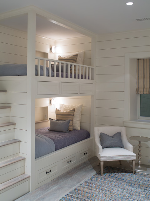 Staircase Bunk Bed Kids Transitional with Beach Bunk Beds Built