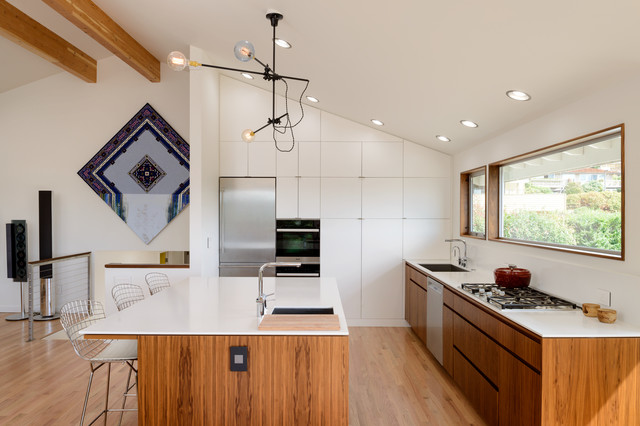 Staub Cocotte Kitchen Contemporary with Floating Vanity Interior Renovation