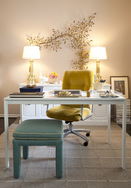 Steelcase Think Home Office Shabby Chic with Area Rug Dark Floor