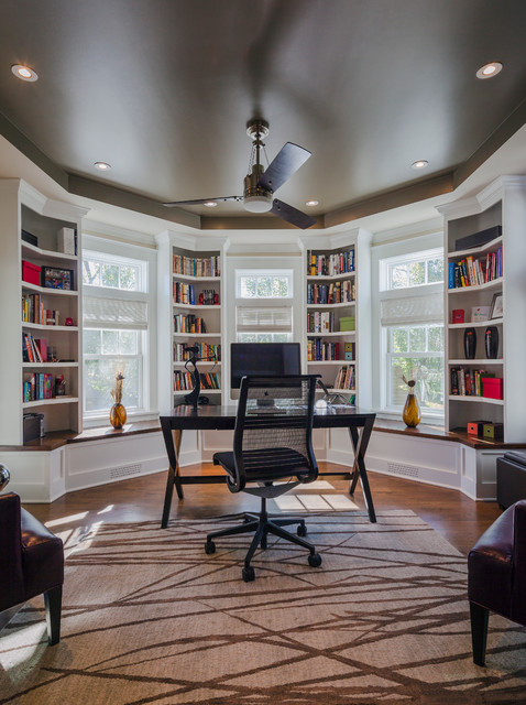 steelcase think Home Office Traditional with area rug built-in shelves