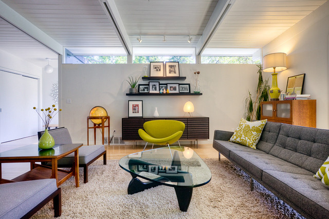 Steelcase Think Living Room Midcentury with Exposed Beams Floating Shelves