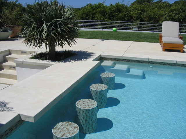 Step Stool with Handle Pool Contemporary with Cable Railing Concrete Garden