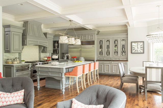 Stool Cushions Kitchen Transitional with Carved Island Chairs Chandelier