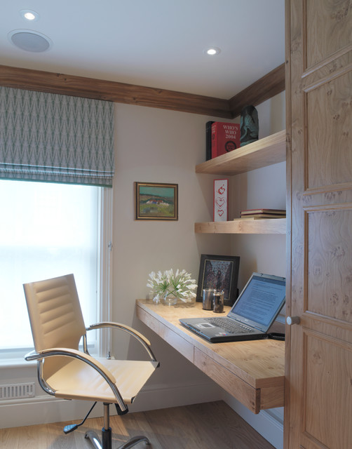 Student Desk with Hutch Home Office Farmhouse with Beige Desk Chair Floating