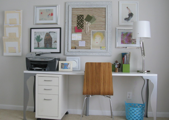 Student Desk with Hutch Home Office Shabby Chic with Art Display Bulletin Board