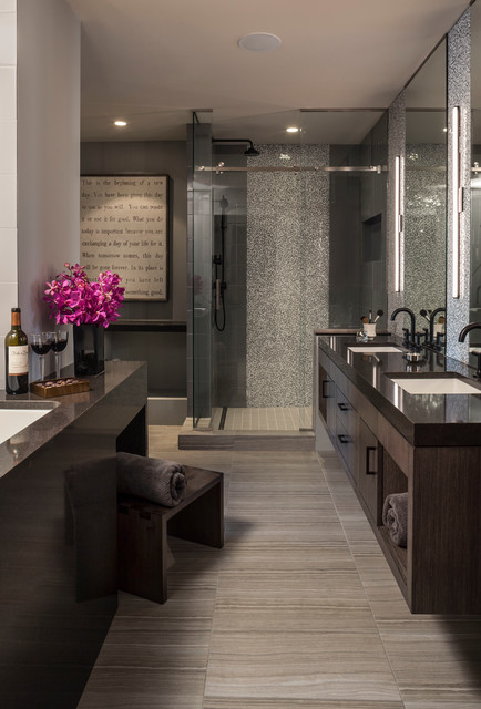 sugarboo designs Spaces Contemporary with double sinks floating vanity