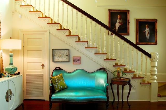 Sugarboo Designs Staircase Victorian with Beige Railing Beige Stair