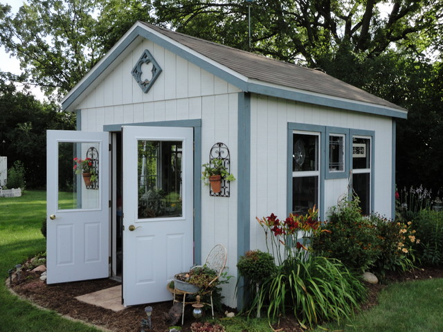 Suncast Storage Shed Garage and Shed Rustic with Blue Window Trim Burgundy