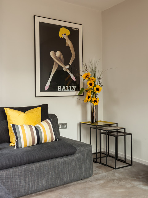 Sunflower Arrangements Living Room Contemporary with Bally Bally Poster Black