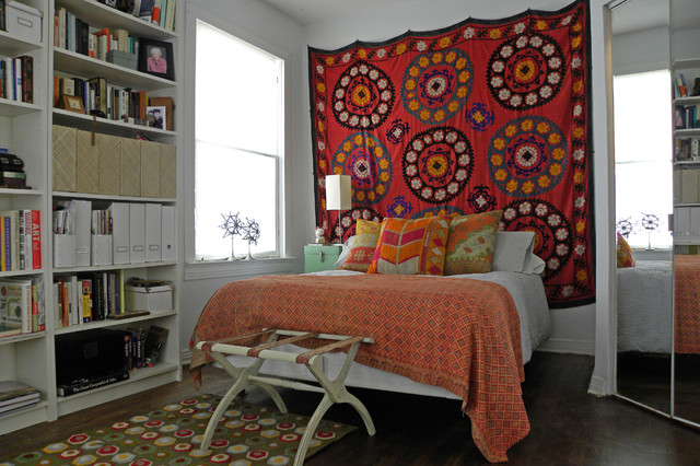 Suzani Bedroom Eclectic with Antique Bohemian Book Case