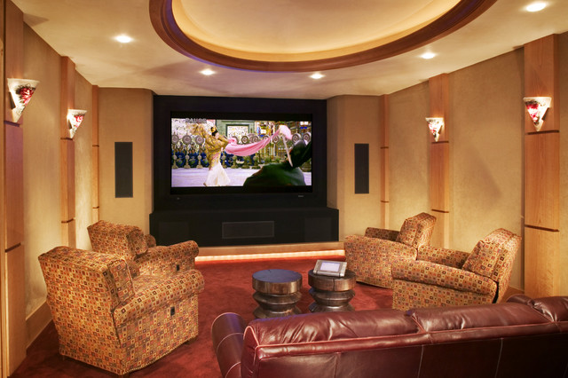Swivel Recliner Home Theater Rustic with Art Glass Sconce Ceiling