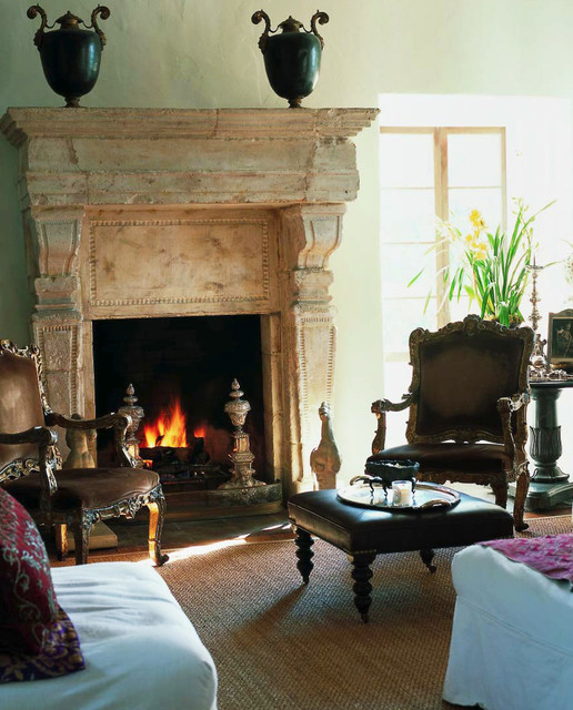 Swivel Rockers Living Room Mediterranean with Antique Stone Fireplaces Bolection