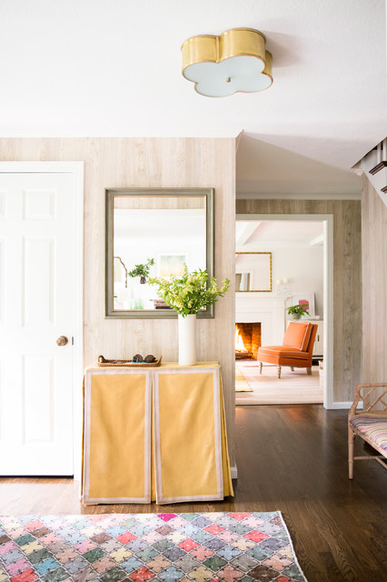 Table Skirting Entry Transitional with Ceiling Light Colorful Rug
