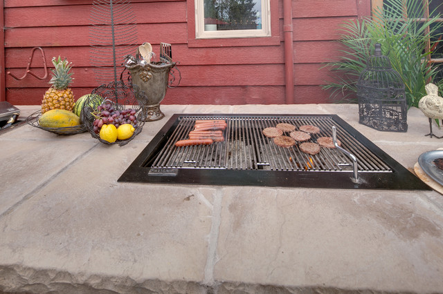 Tabletop Charcoal Grill Landscape Mediterranean with Built in Bbq Exterior