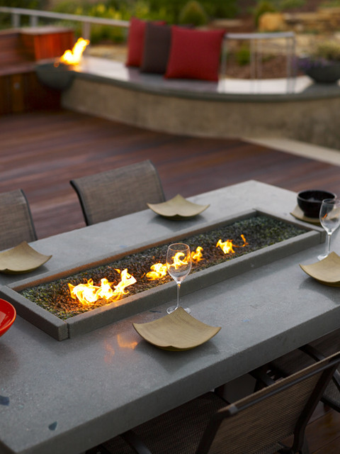 Tabletop Fire Pit Deck Beach with Acid Etch Concrete Agave