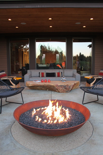 Tabletop Fire Pit Patio Contemporary with Bar Top Bright Comfortable